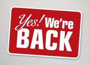 Nous sommes de retour! we-are-back1-300x219